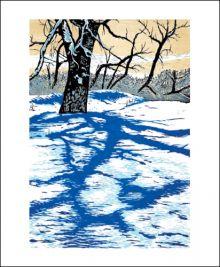 Winter Shadows Linocut print by Theresa Haberkorn (