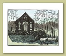 Chapel at Ty'n Cwm Greeting Card by Ian Phillips Linocut Artist