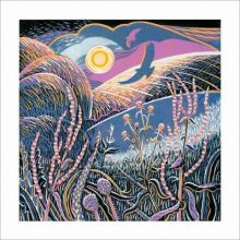 Wayside Winter linocut Greeting Card by Annie Soudain