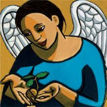 Anita Klein Angel Protecting an Acorn